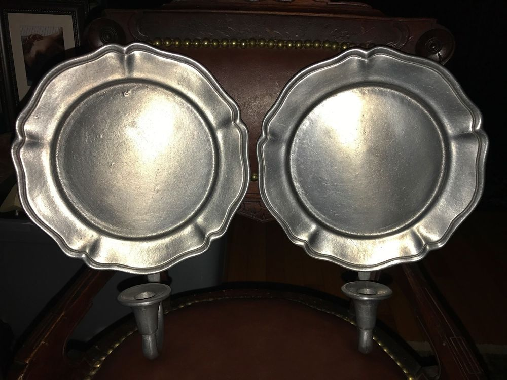 2 Vintage Cambridge Colonial By Oneida Pewter Wall Sconces Candle Holders Candle Wall Sconces Candle Holder Wall Sconce Pewter