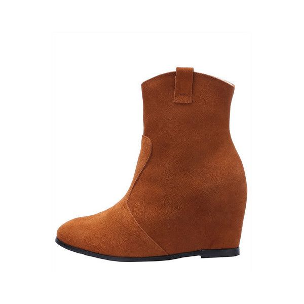 SheIn(sheinside) Camel Pointy Within Higher Boots (£21) ❤ liked on Polyvore featuring shoes, boots, brown, brown shoes, short brown boots, winter boots, party shoes and short winter boots