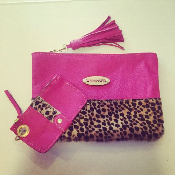 Hey, I found this really awesome Etsy listing at https://www.etsy.com/listing/240587692/all-leather-hot-pink-clutch-with-leopard
