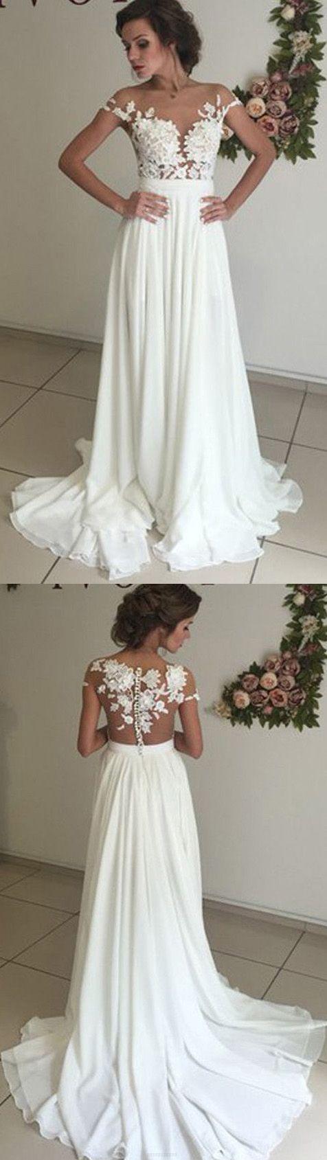 Long alineprincess wedding dresses ivory cap sleeve with applique