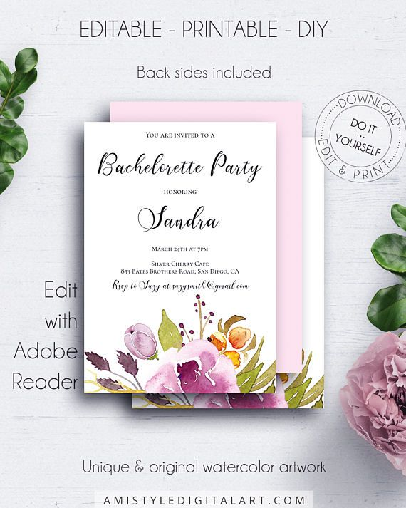 Bohemian Wedding Bachelorette Invite With Elegant And Fashionable