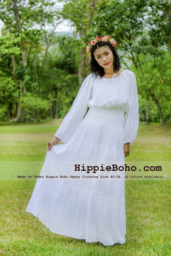 792ffdb9e7e46c No.305 - XS-5X Hippie Boho Wedding Plus Size White Cotton Long Sleeve Maxi  Dress Bohemian Summer Clothing Tiered Full Length Women's Dress Hippie Boho  Gypsy ...