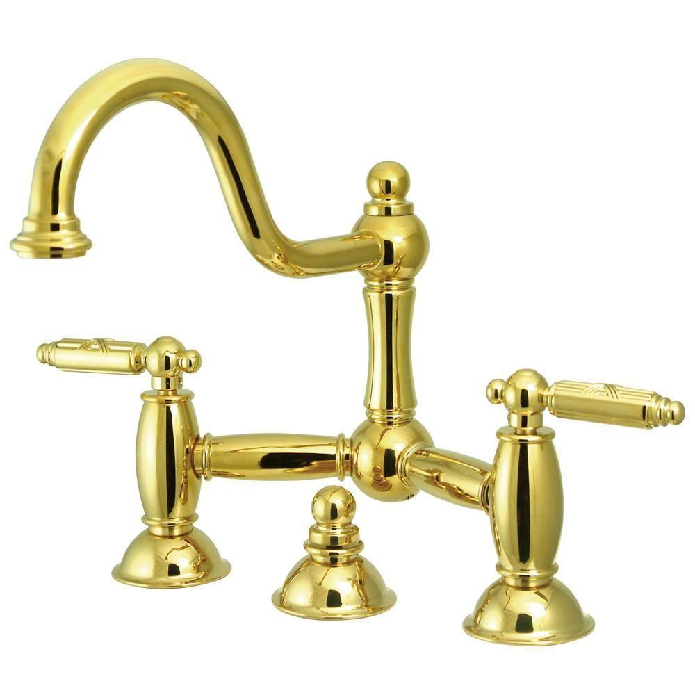 Polished Brass 8 Centerset Bridge Bathroom Sink Faucet W Drain