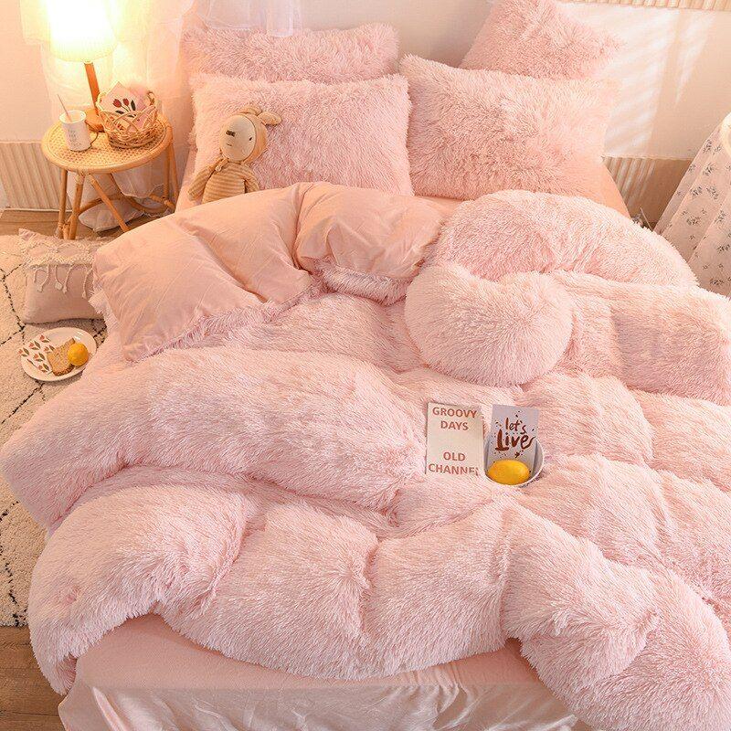 Winter Super Warm Long Plush Bedding Set Fluffy Faux Fur Shaggy Duvet Cover Bed Sheet Pillowcase Set Queen King Size 4pcs In 2021 Bed Sheets Comforter Sets Bedding Set