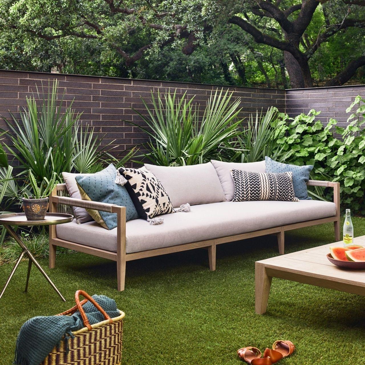 Sherwood Natural Teak Outdoor 3 Seater Sofa 93 Teak Patio Furniture Backyard Furniture Resin Patio Furniture