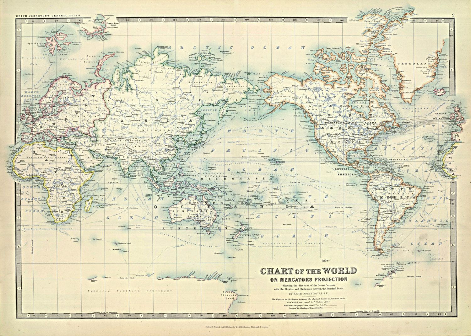 World Map Of The Ocean Currents 1893 Print Poster Maps Pinterest