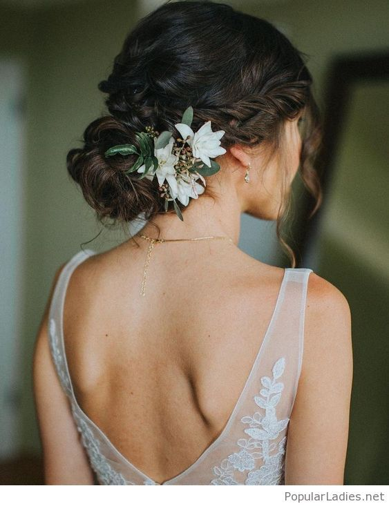 Backless Dress And A Nice Updo Elegant Wedding Hair Modern Bridal Hairstyles Summer Wedding Hairstyles
