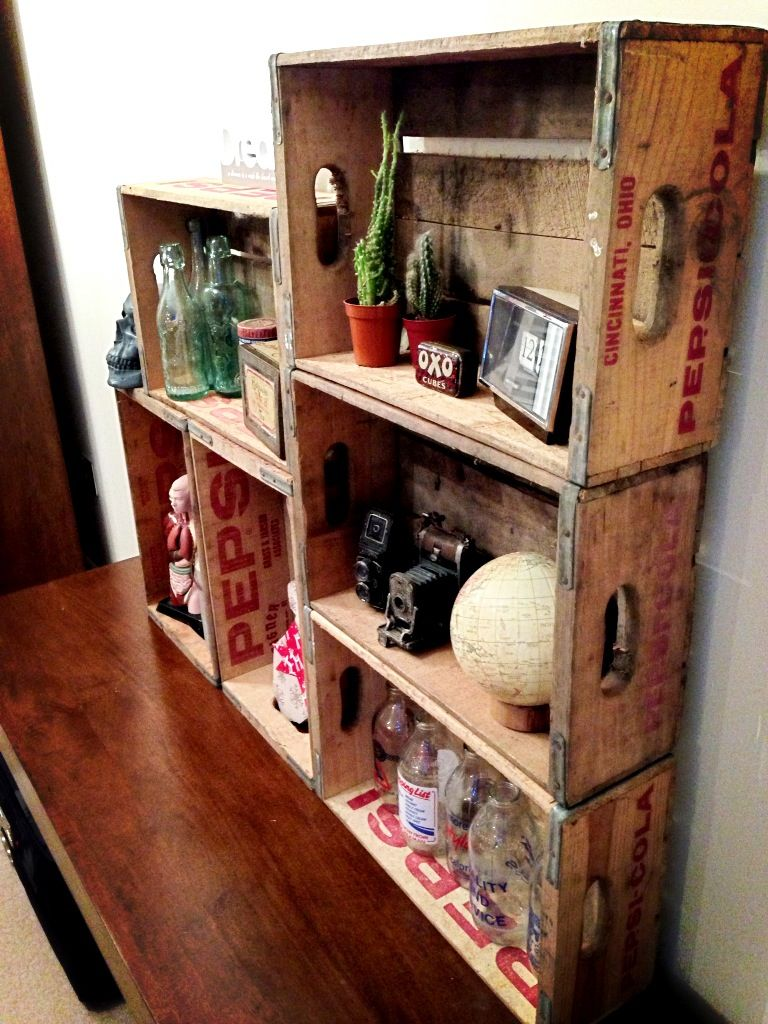 Modular shelving using vintage Pepsi-Cola crates. Upcycled shelving. We've just bought ten of these gorgeous crates!