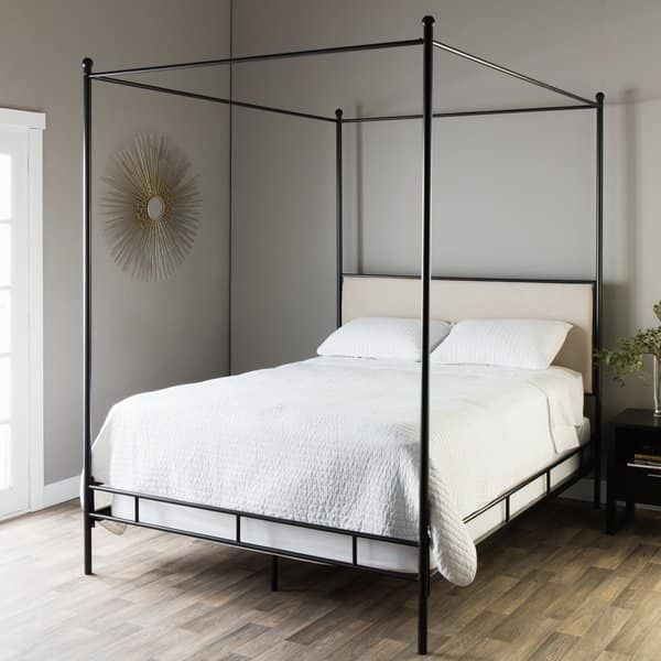Queen Size Canopy Bed, The Curated Nomad Quatrefoil Queen Canopy Bed