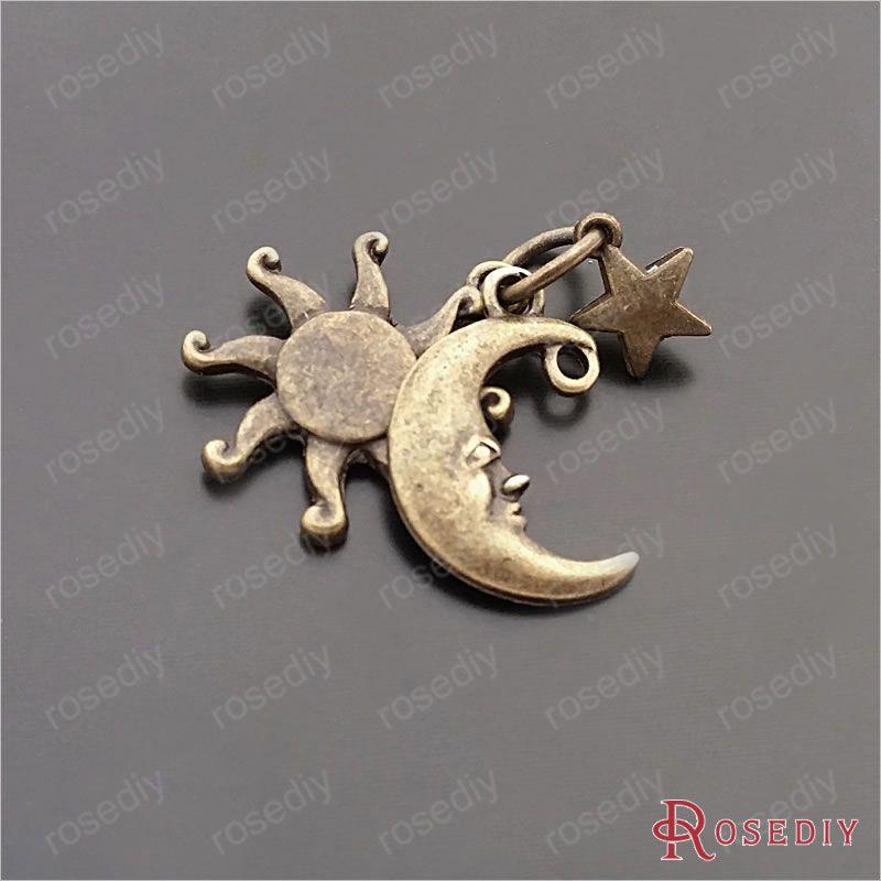 ( 29582 ) 10 Sets de altura completa 24 MM plateado bronce antiguo Zinc aleación Sun Moon star Set encantos de la joyería Diy accesorios(China (Mainland))