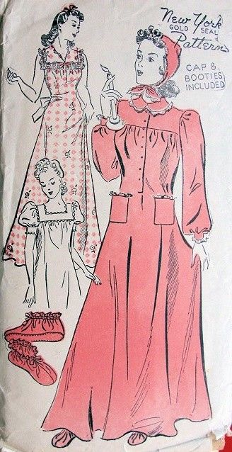1930s Sleep Wear Pattern 2 Styles Of Nightgowns Sleeping Cap