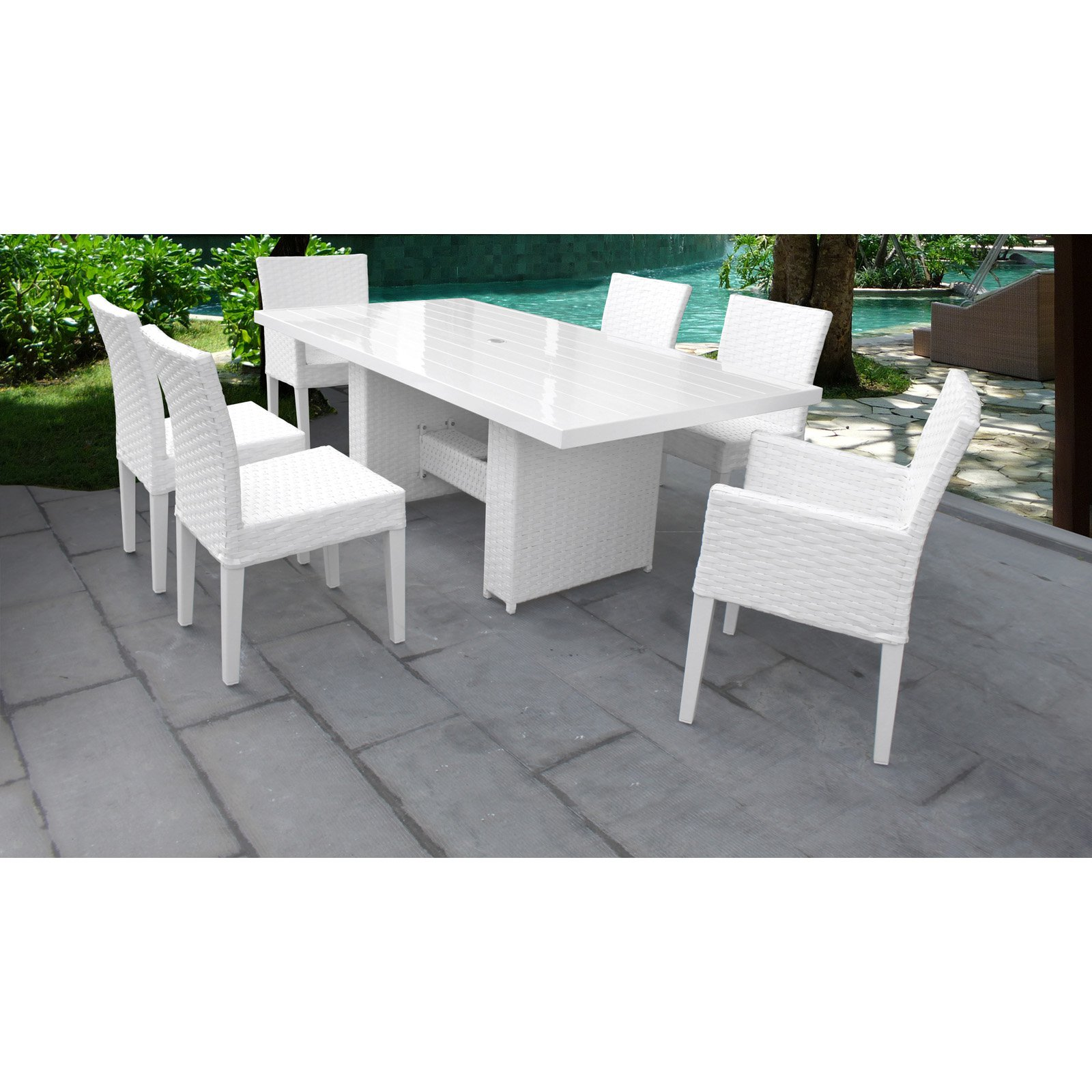 Outdoor Tk Clics Monaco Wicker 7 Piece Patio Dining Set
