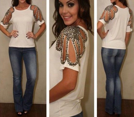 White Patchwork Cut Out Round Neck Casual T-Shirt