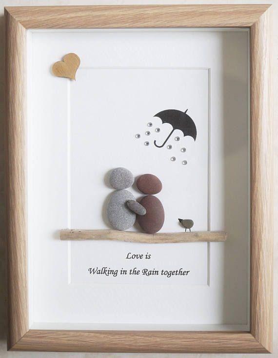 Pebble Art framed Picture Love is walking in the Rain