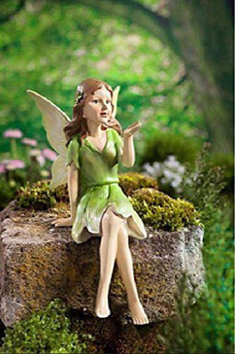 Dekofigur Elfe Fee Kantenhocker Figur Garten Dekoration Gartenfigur