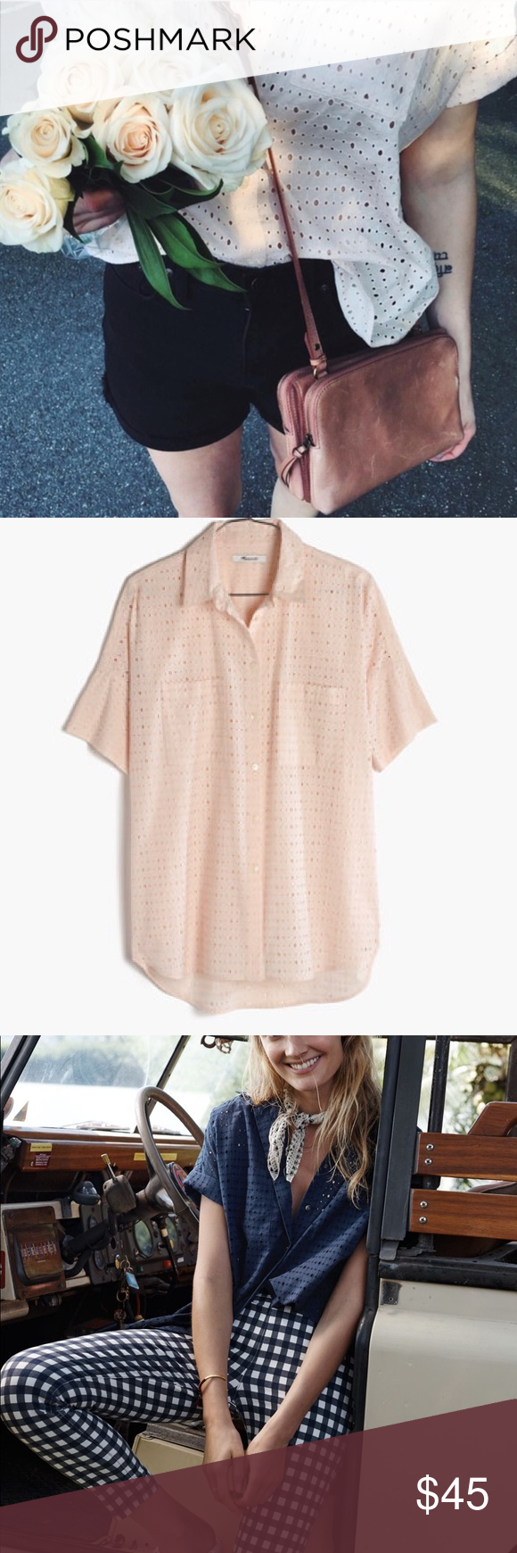 088c1b81 Madewell Eyelet Courier shirt Excellent condition PRODUCT DETAILS We remade  our perfectly oversized, slightly boxy shirt in breezy eyelet lace.