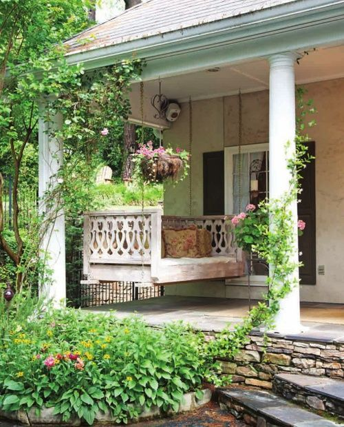 Front Porch Swings Farmhouse Exterior: Southern Porch + Swing + Climbing Roses + Country + Summer