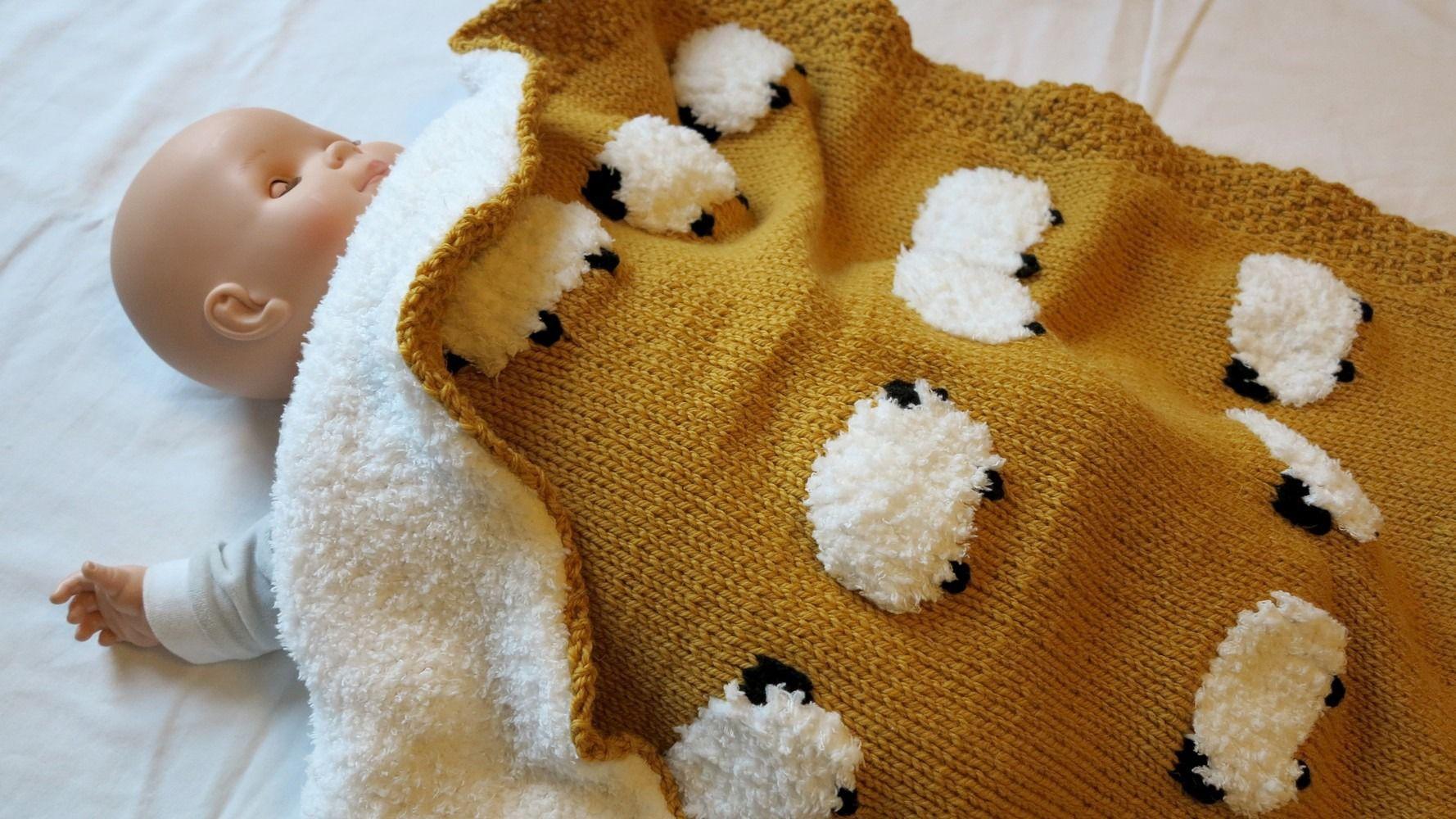 R serv o couverture b b avec de petits moutons tricot e main doubl e au tricot fils - Couverture en laine bebe ...