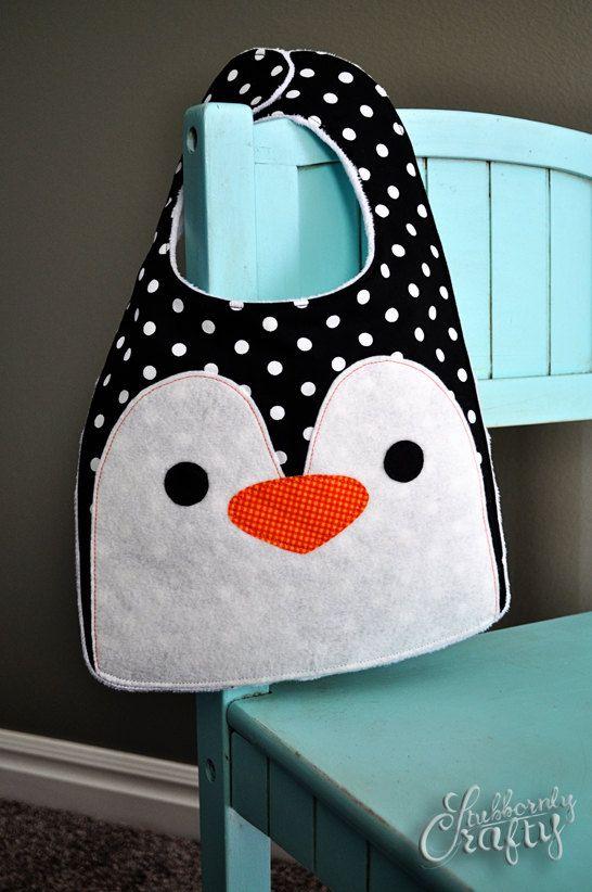 Penguin Bird Baby Bib Handmade by Lisa by StubbornlyCrafty on Etsy ...