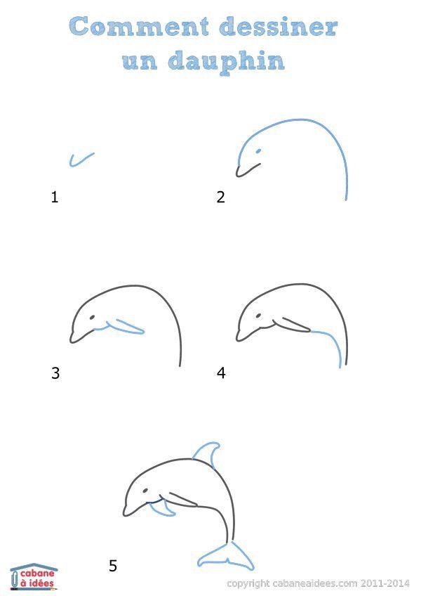Comment dessiner un dauphin enfants pinterest dessin comment dessiner et dessins faciles - Dessiner des animaux facilement ...
