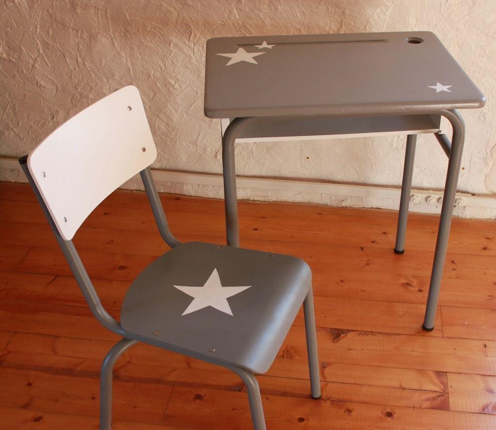 bureau d 39 colier vintage enfant relook gris blanc etoil. Black Bedroom Furniture Sets. Home Design Ideas