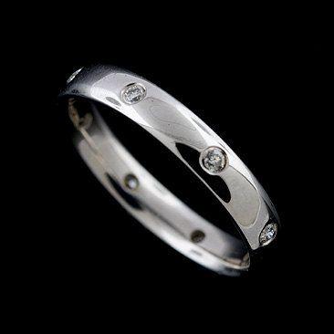 14K White Gold Diamond Wedding Band Ring by OroSpot on Etsy