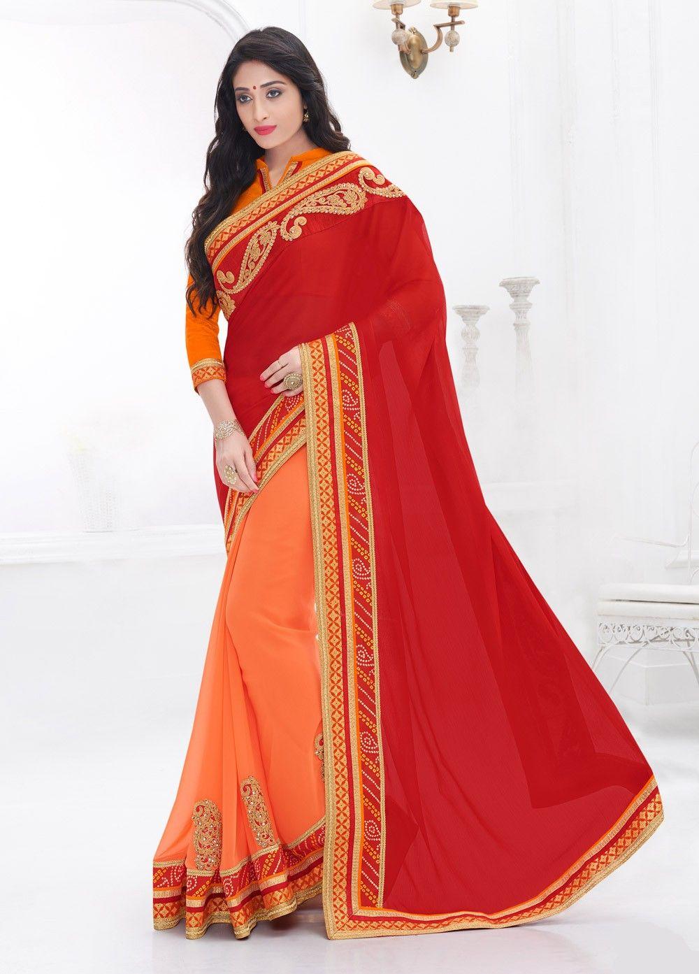 Classy Moss Chiffon Red and Orange #Casual Wear #Saree