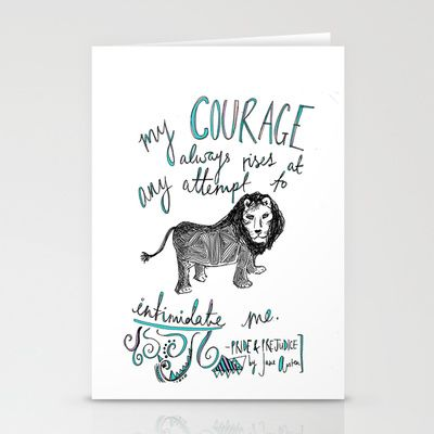 COURAGE: PRIDE AND PREJUDICE by JANE AUSTEN Stationery Cards