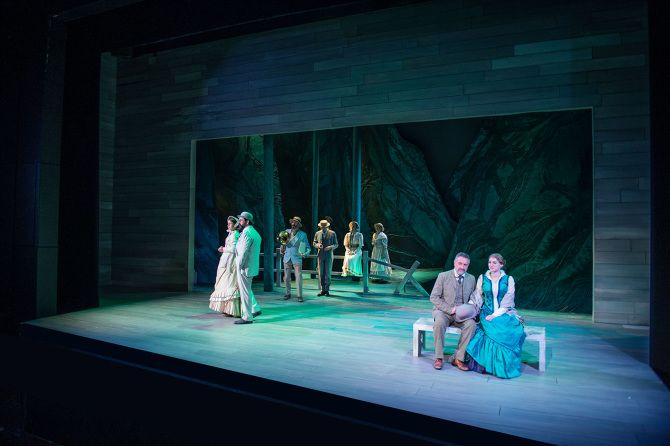 Y Fenyw Ddaeth o'r Mor (The Lady from the Sea - Welsh Language Tour). Scenic design by  Max Jones. 2015