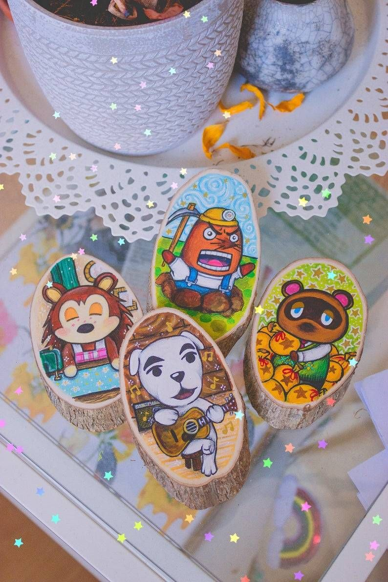 Animal Crossing Wood Slice Paintings made by SpaceTaxi -