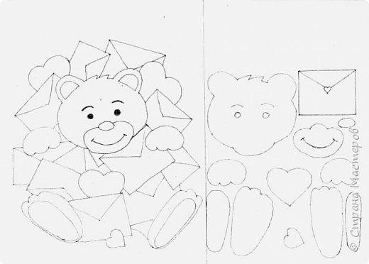 Pictura murala desen master-class Îndrăgostiților Ziua Îndrăgostiților aplicatiile cu ursulet de plus hârtie foto 2