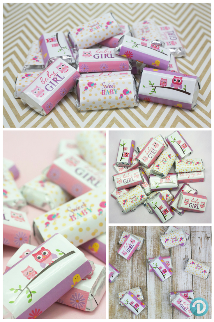Owl and Tweet Girl Baby Shower - Mini Candy Bar Stickers (Set of 54 ...
