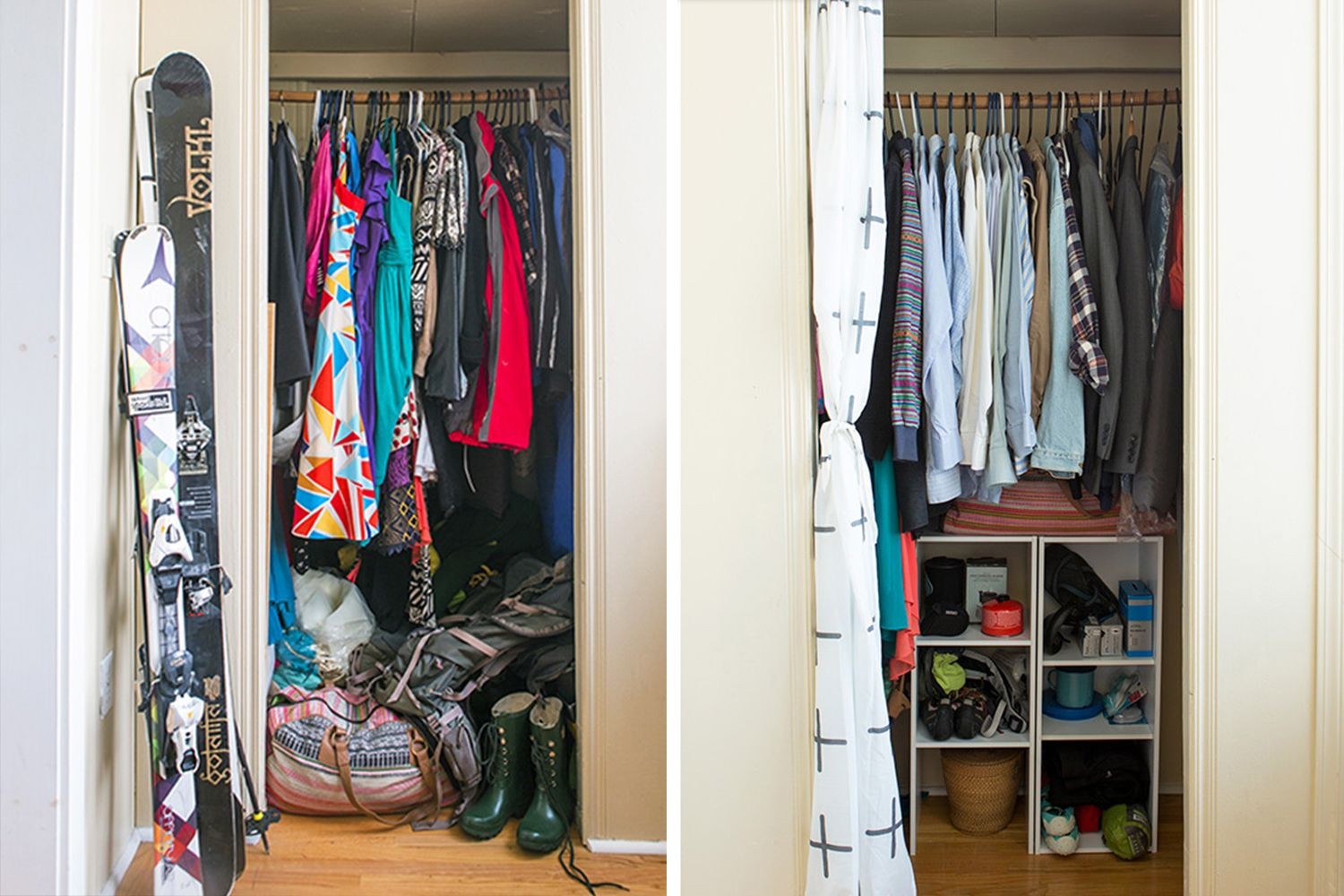 Closet Organizing Before And After // How To Organize Your Closet //  Organized Home // Capsule Wardrobe // Decluttering // Storage Solutions //  Www.