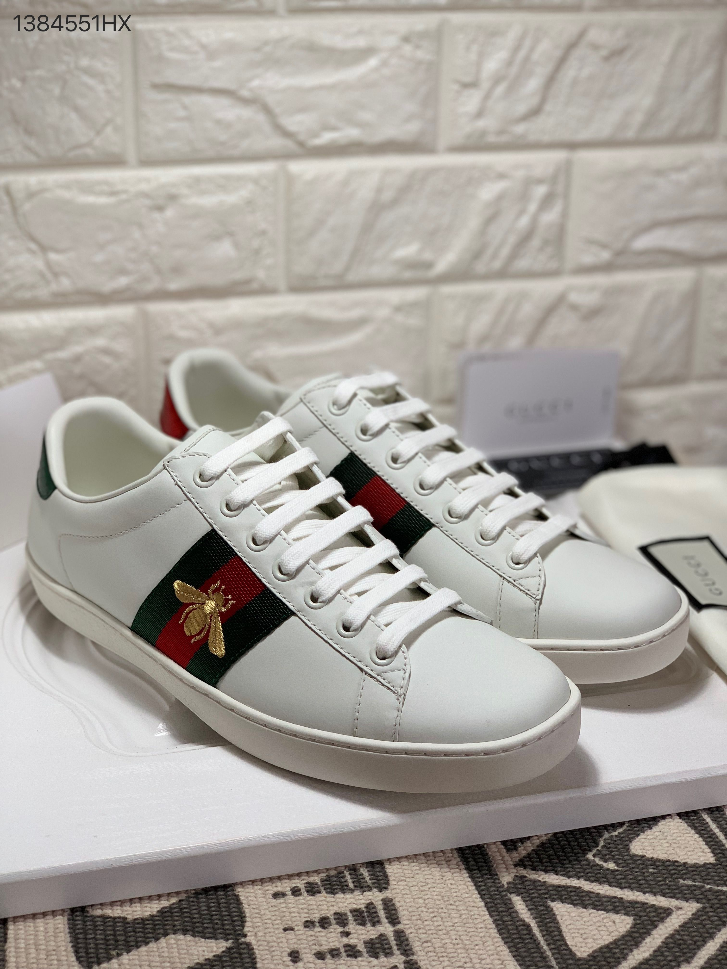 aa86d2f42ad Gucci woman man couple shoes white leather ace sneakers top with embroidered  bee