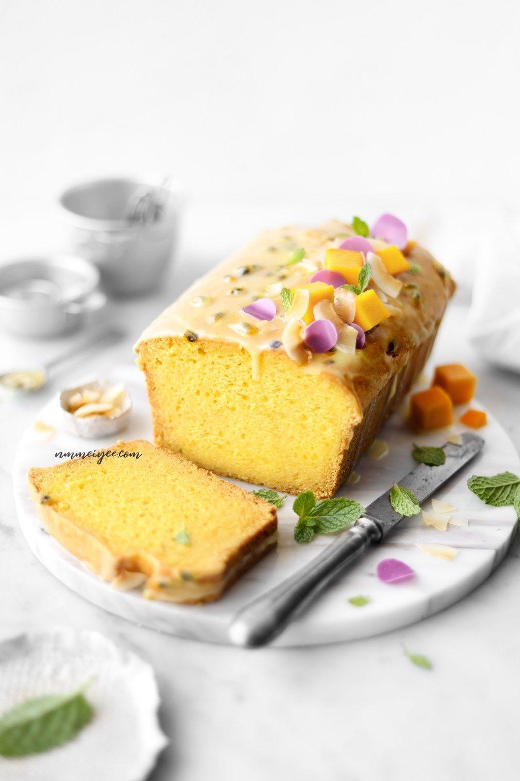 Mango yogurt cake with passion fruit glaze vegan nm