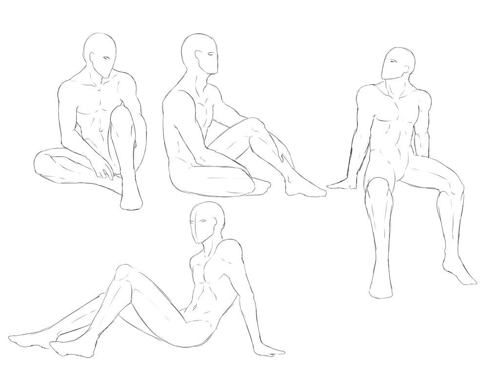 Male sketch pose pack sitting poses by shadowinkwarrior
