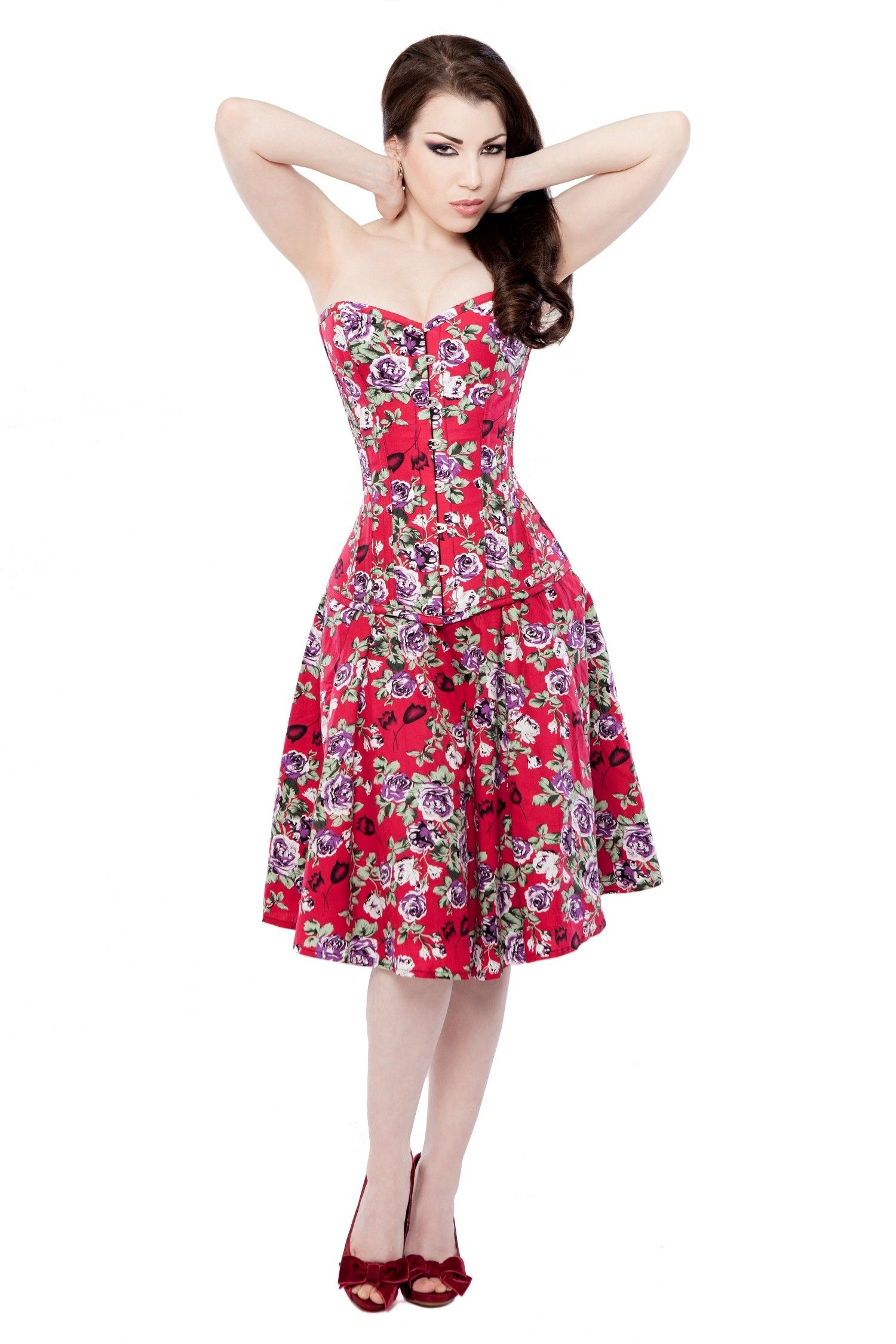 Red Floral Corset Dress With Long Corset | A Form Of Politeness ...