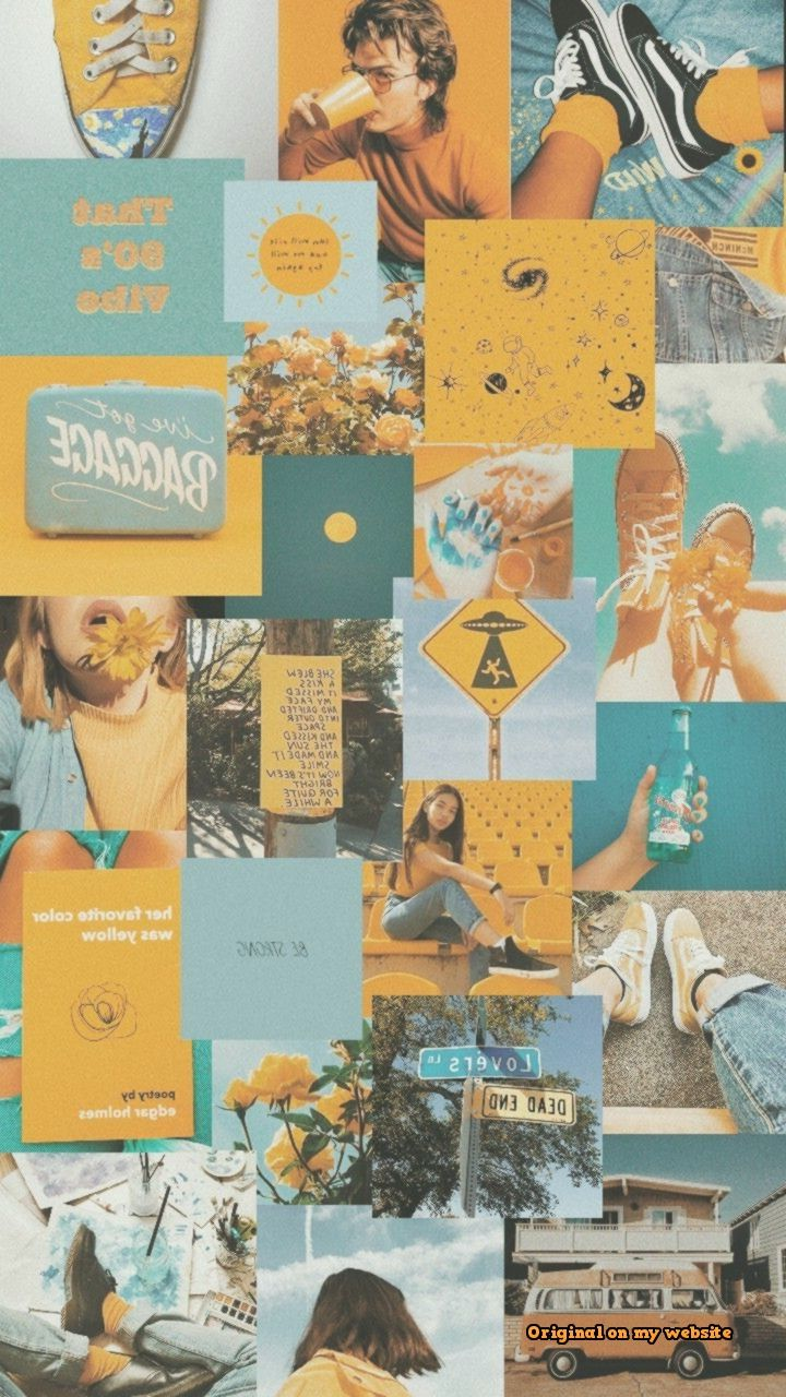 Wallpaper Samsung Vintage - blue and yellow aesthetic #yellowaestheticvintage