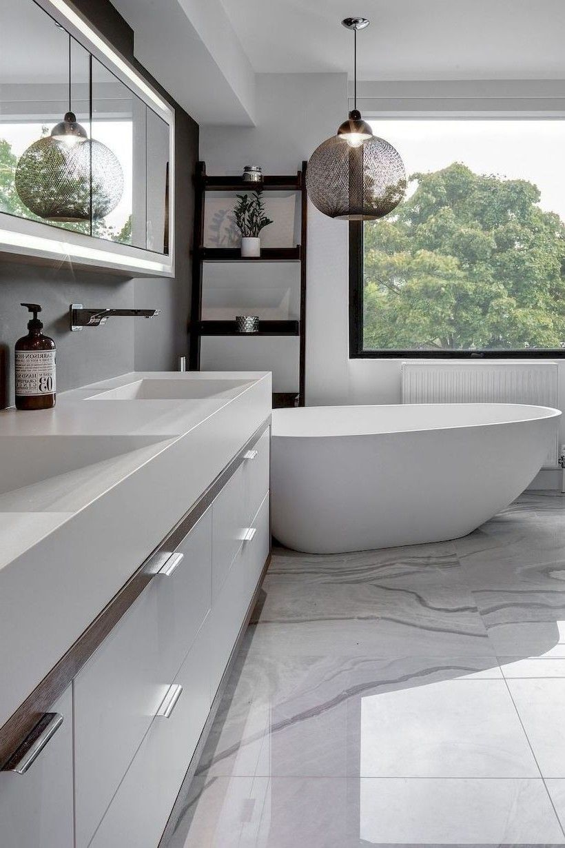 Modern Bathroom Mirror Vanity With White Cabinets And Marble Flooring Modern Home Decor