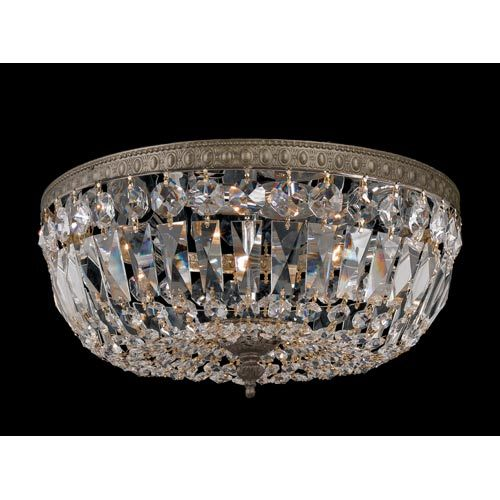 Crystorama Lighting Group Richmond Majestic Wood Polished Crystal English Bronze Three Light Flush Mount