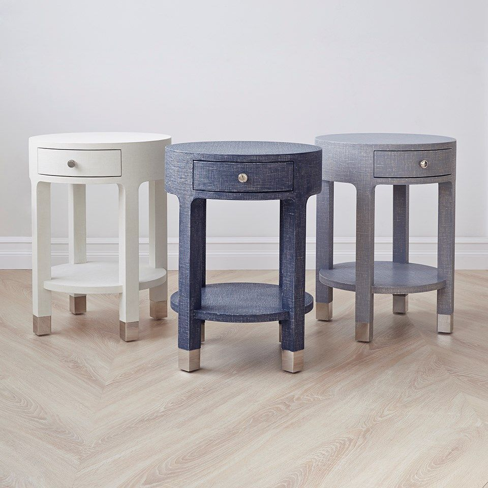 White One Round Side Table Bedroom Night Stands Round Nightstand