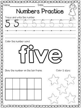Number Practice Pages for 1-10 FREE