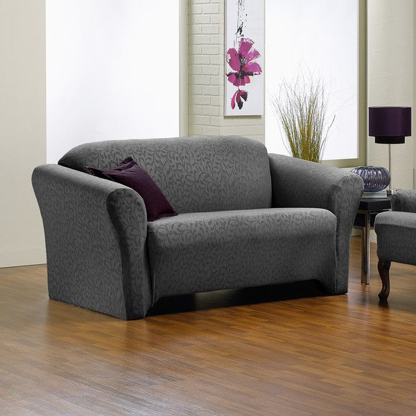 Sure Fit Fresca One Piece Stretch Loveseat Slipcover ($61) ❤ liked on Polyvore featuring home, furniture, sofas, grey, victorian style sofa, grey couch, slip cover couch, slipcover couch and slip cover sofa
