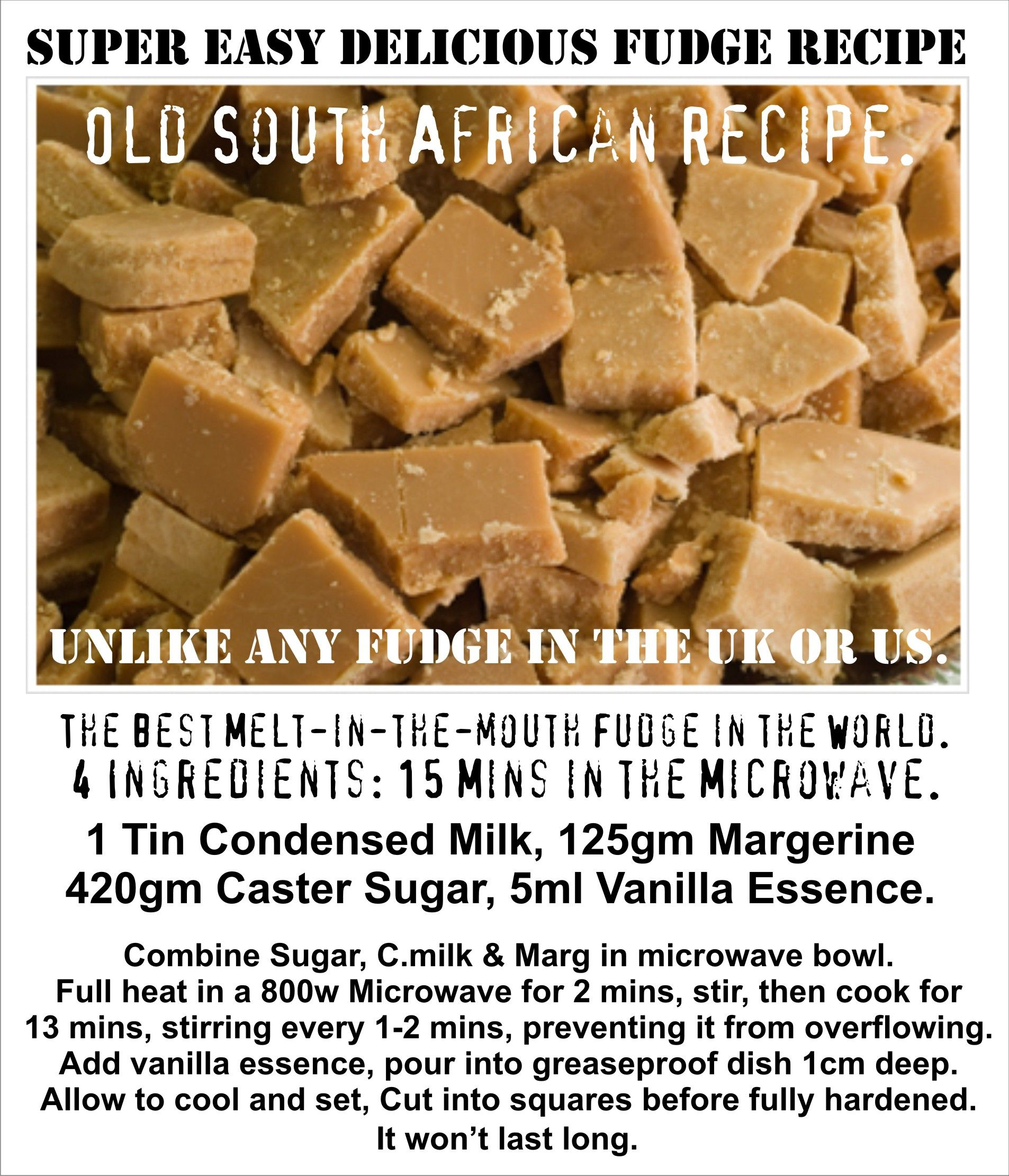 South African Easy Microwave Fudge Recipe Melt In The Mouth Crystalised Fudge Unlike Any You Fudge Recipes South African Fudge Recipe South African Desserts