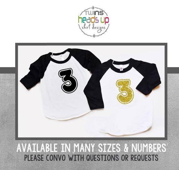 Boy//Girl Twins Three Birthday Shirts Raglan Third Bday tshirts 3rd Tees Trendy 3