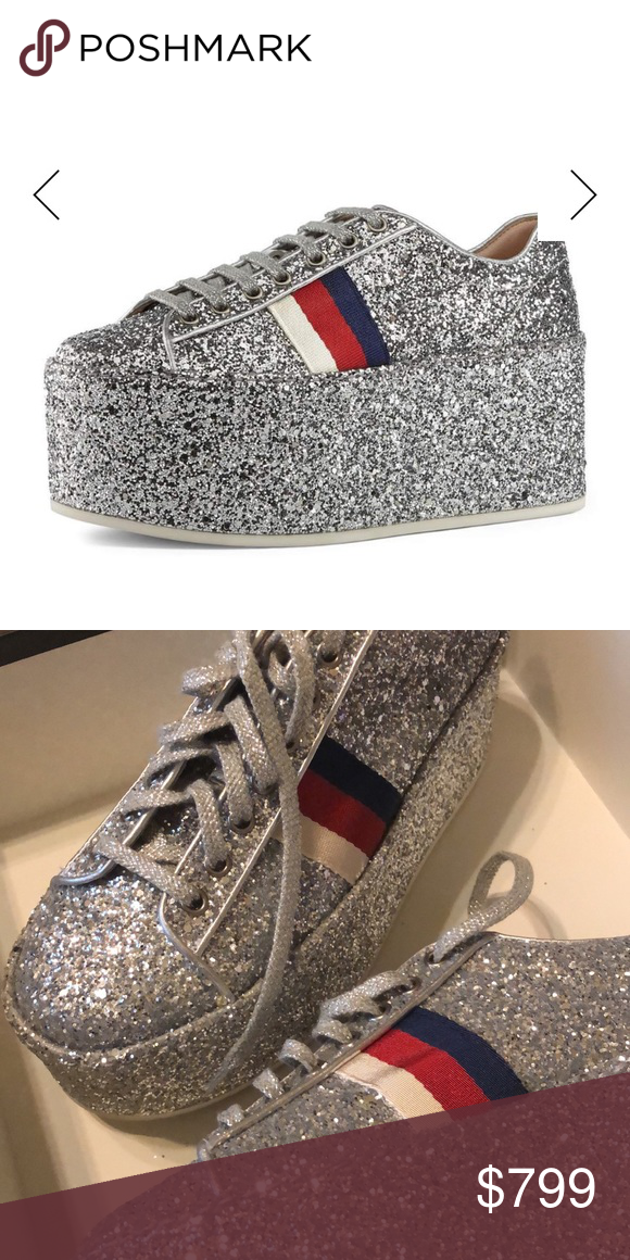 d036fe31d New Gucci Peggy Silver Glitter Platform Sneakers Brand new with box and  dustbag Gucci Peggy Glitter Platform Low-Top Sneaker $940.00 Gucci low-top  sneaker ...