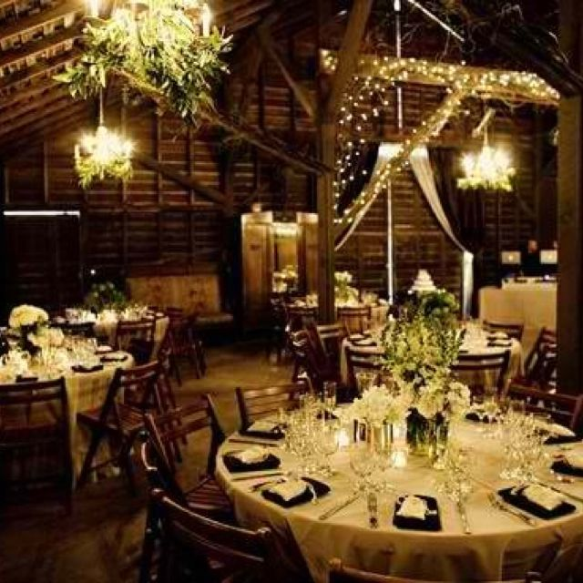 rustic barn wedding decor. We could use just the ivory table clothes ...