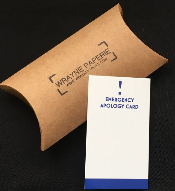 Emergency Apology Cards Business Cards Funny Novelty Gift White Elephant Gift Wedding Gift Gifts For Him Apology Cards White Elephant Gifts Novelty Gifts