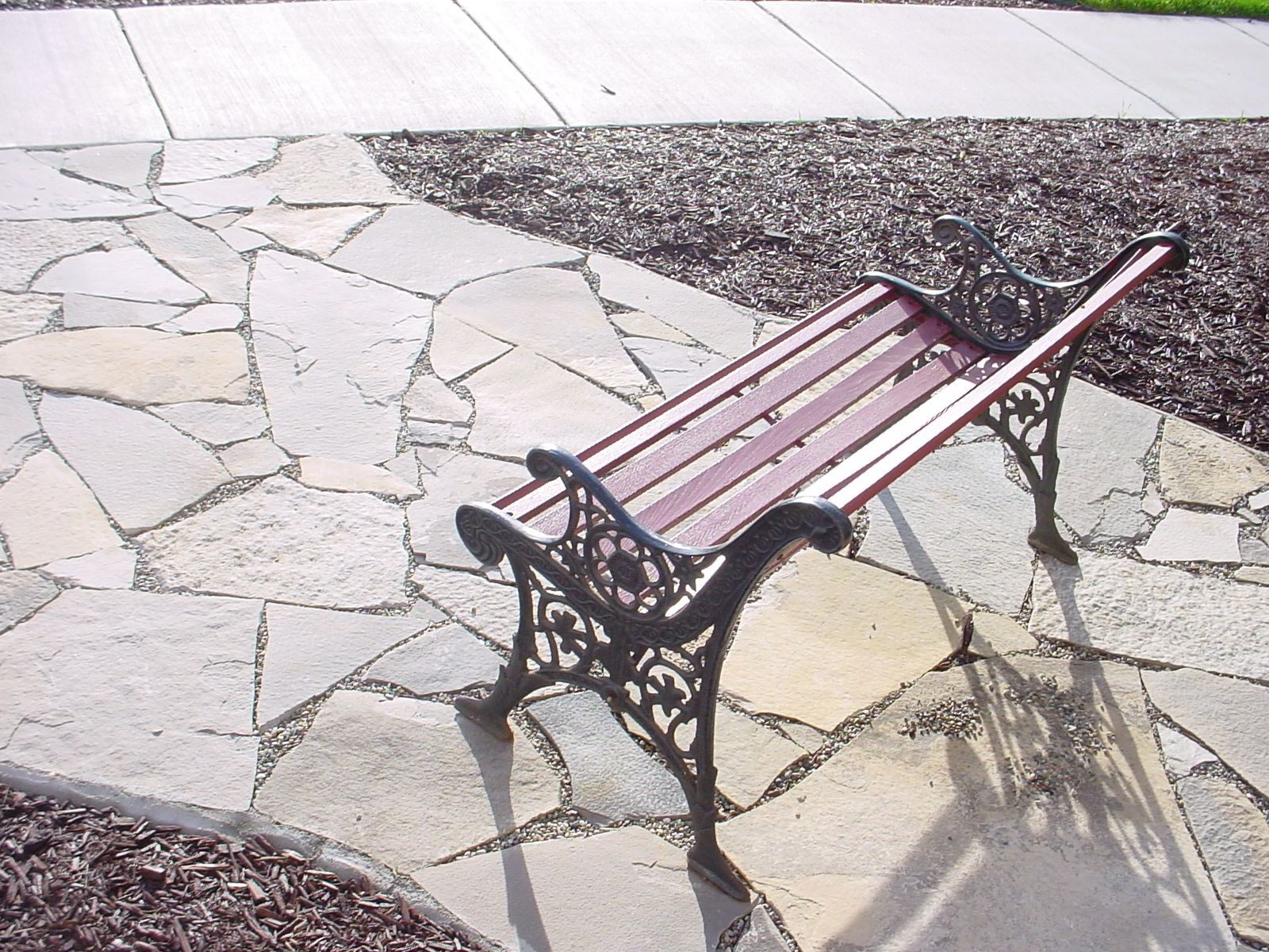 Canadian flagstone patio with bench | Flagstone patio ... on Backyard Decor Canada id=63383