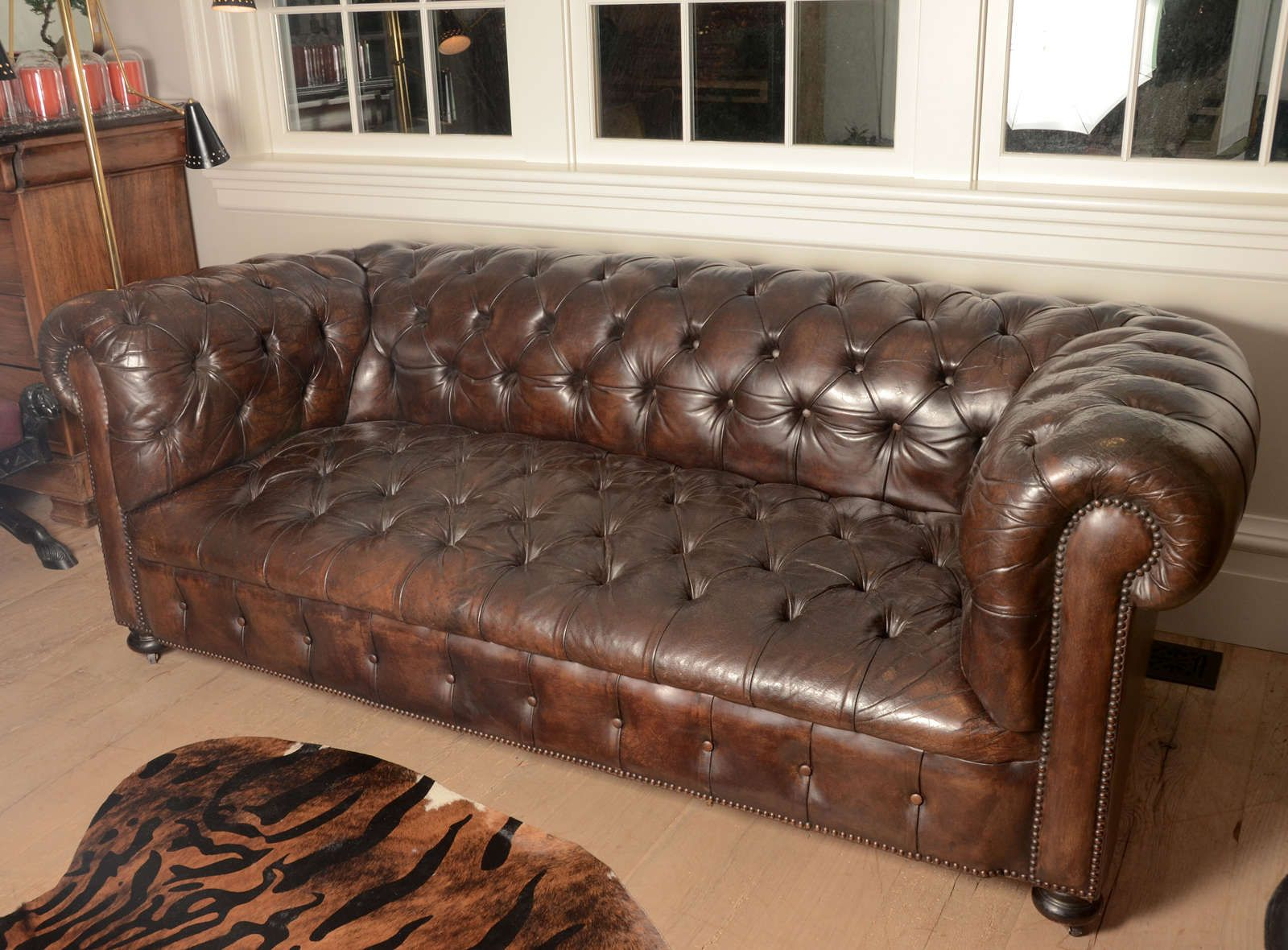 Superieur French Mid Century Chesterfield Sofa In Dark Brown 2
